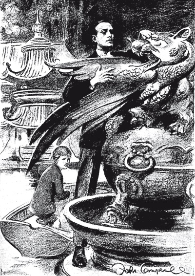"""Иллюстрация к рассказу """"Голова дракона'' в журнале """"Пирсоне"""", художник Джон Кэмпбелл"""